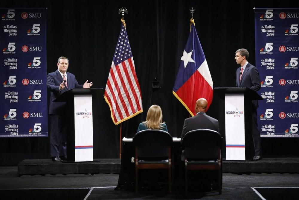 Incumbent Ted Cruz and contender Beto O'Rourke debate ahead of the US Senate election in November.