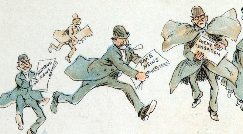 American cartoon (1894) depicting fake news. (Illustration: Frederick Burr Opper)