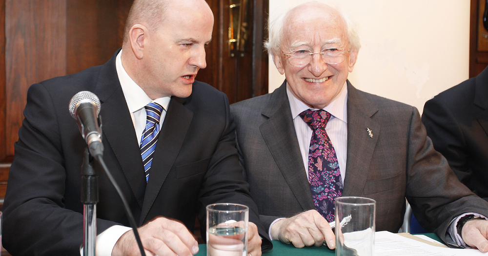 2018 Irish presidential candidates Sean Gallagher and Michael D. Higgins pictured prior to their first campaign in 2011.